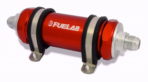 "Fuel Lab -10in/out 5"" 75 micron In-Line filter Red"