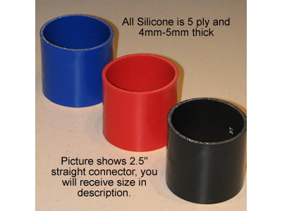 3� Silicone straight connector hose (Black)